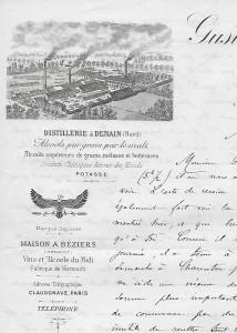 Lettre à en-tête usine Gustave Claudon
