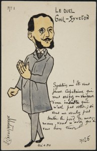 Delamarre, A.-F. Illustrateur. Le duel Gail-Syveton. N° 1 : Syveton. Impression photomécanique en couleurs. 1904. Bibliothèque historique de la Ville de Paris.